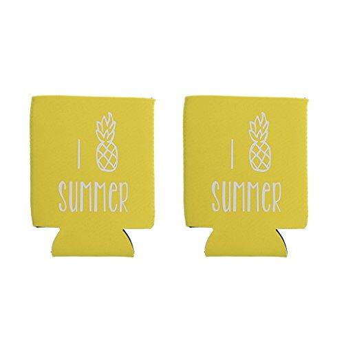 SM SunniMix 1 Par de Enfriadores de Botellas de Cerveza Estilo Playa Hawaiana, Piña Tropical, Accesorio para El Hogar, Amarillo