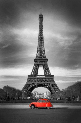 empireposter Paris - Eiffelturm - rotes Auto, colourlight, Poster, Grösse cm