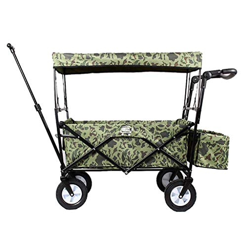HAOSHUAI Lagerwagen Folding Garden Trolley Wagen mit Baldachin Heavy Duty Wagon Kinder Kofferkuli Tragbares Einkaufswagen for Outdoor-Camping-Push-Pull Wagen mit 4 Wheel, Belastung: 80 kg, B