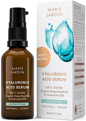Hyaluronsäure Serum mit Vitamin C und Q10, hochdosiert mit geprüftem 5-fach Anti-Aging-Komplex, Dermaroller geeignet, Basis für Make-up, zertifizierte vegane BIO Naturkosmetik von Marie Jardin