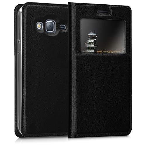 kwmobile Funda para Samsung Galaxy J3 (2016) DUOS - Carcasa de Cuero sintético con Ventana - Case con Solapa Negro
