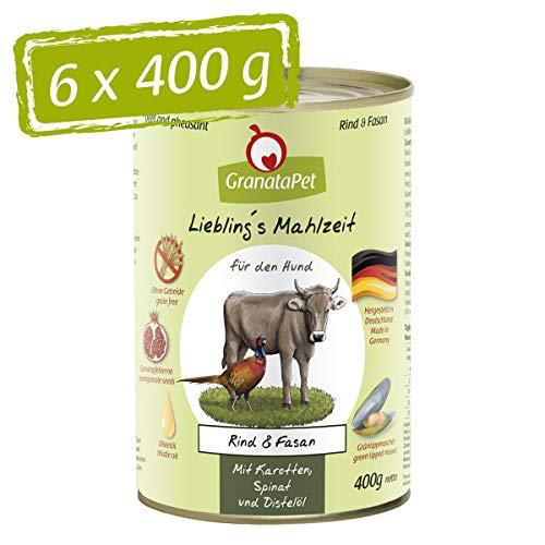 GranataPet Liebling's Essen - Nourriture Humide pour Chien - Bœuf et Faisan - sans céréales et sans Sucre - 6 x 400 g