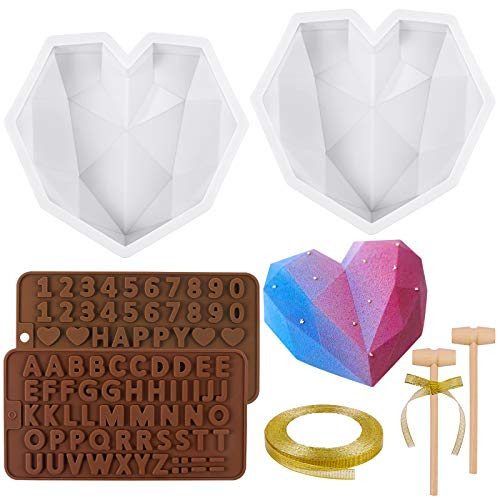 MIKIMIQI 2 Pack Diamond Heart Shape Silicone Cake Mold 3D Diamond Heart-Shaped Mold Chocolate Mousse Dessert Baking Pan with Letters Numbers Chocolate Molds, Wooden Hammers, Ribbon