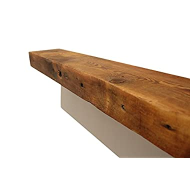 ParkCo Rustic Fireplace Mantel Floating Wood Shelf - Reclaimed Barn Wooden Beam Wall Decor, Mounted Farmhouse Shelving, Solid Decorative Ledge Organizer - with Hardware - 30  W X 7  D X 2 3/4  H