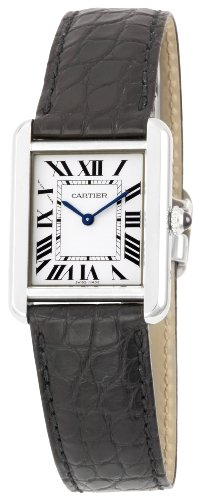 Cartier Women's W5200005 'Tank Solo' Stainless Steel Dress Watch with Leather Band