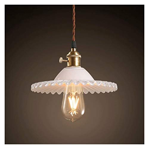 Retro Pendant Lighting with Clear Glass Shade and Metal Base Cap, Kitchen Light fixtures with Funnel Flared Style and Adjustable Textile Cord, Indoor Lamp for Bedroom Bathroom (Color : White)