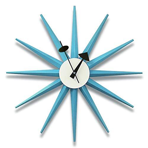YYL Nelson clock Nelson Clock, Blue Wall Clock Silent Wooden Decorative Modern Silent Wall Clock Battery Operated Wall Clock Pop Color Quartz Clocks, for Home