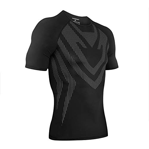 AMZSPORT Camisa de Compresión Deportiva para Hombre Camiseta de Manga Corta Camiseta de Secado Rápido Capa Base para Correr, Negro S