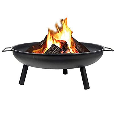 FiNeWaY Stunning Black Round Fire Pit Log Burner Heater Bowl with Legs- For Garden Camping BBQ Picnics Holiday Festivals Beach Patio Outdoor by FiNeWaY