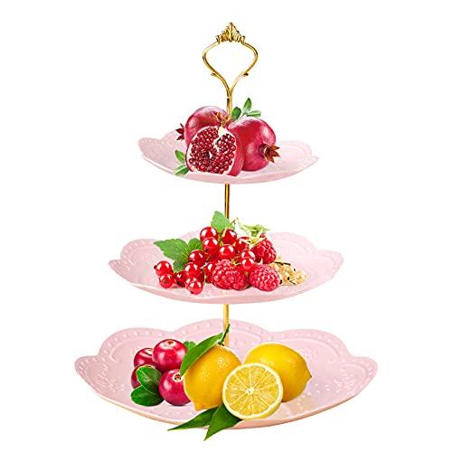 Espositore per torte, 3 livelli Alzata per torta in plastica Portapiatti per frutta Alzata per dessert Cupcake Party Servire per piatto per compleanno Diserbo Afternoon Tea Party Pink