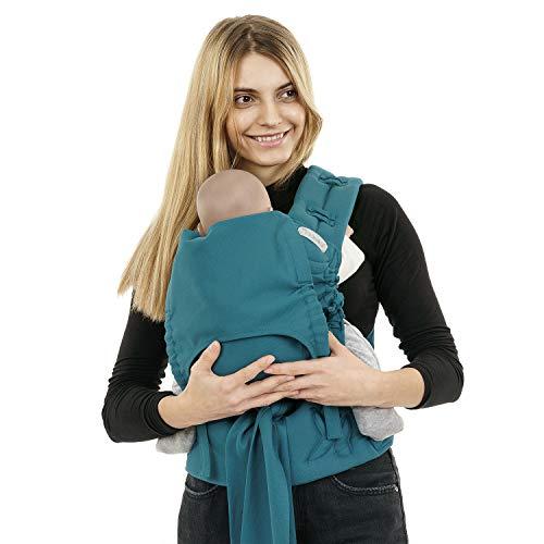 Babytrage Fidella FlowClick I Bauchtrage & Rückentrage I Ergonomisch und mitwachsend für Neugeborene / Babies bis 15 kg I 100% Baumwolle I Petrol
