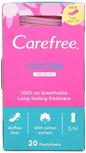 Carefree Cotton Extract Panty Liner, 20 each