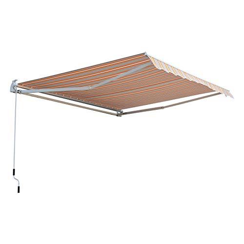 Outsunny Toldo Retráctil con Manivela Pared Ángulo Ajustable de PU Resistente al Agua 300x250cm articulado 280g/m² Naranja Blanco