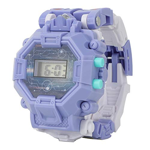 Zerodis Elektronische Uhr Kinder Kreative Verformung Transformation Armbanduhr Cartoon Spielzeug elektronische digital Uhr Roboter Spielzeug (mit Batterie)(Lila)