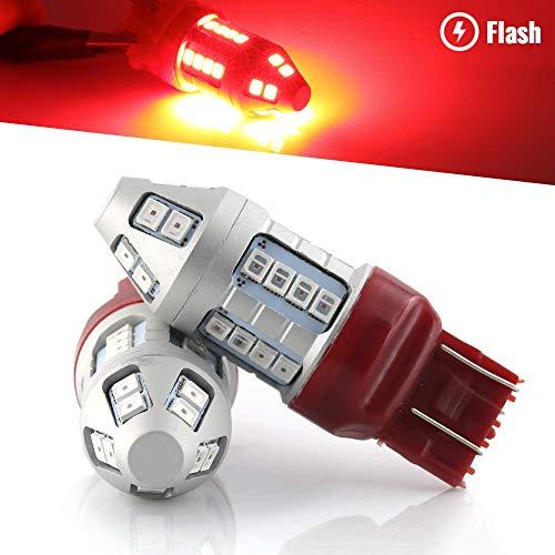 Syneticusa 7443 Red Flashing Strobe Blinking Rear Alert Safety Brake Tail Stop High Power LED Light Bulbs