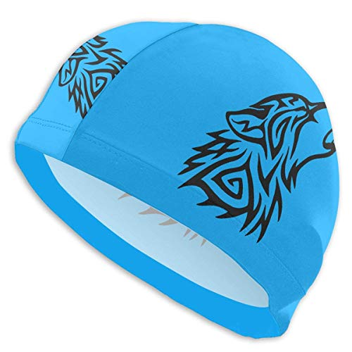 HFHY Tribal Wolf Howl Adult Summer Time Beach Bath Caps for Men Women Unisex