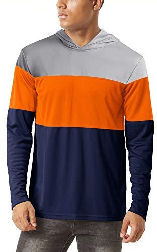 KEFITEVD Mens Rash Guard Long Sleeve Swim Shirt Loose Fit with Hood Shirt Outdoor Athletic Surf Swimsuit Navy