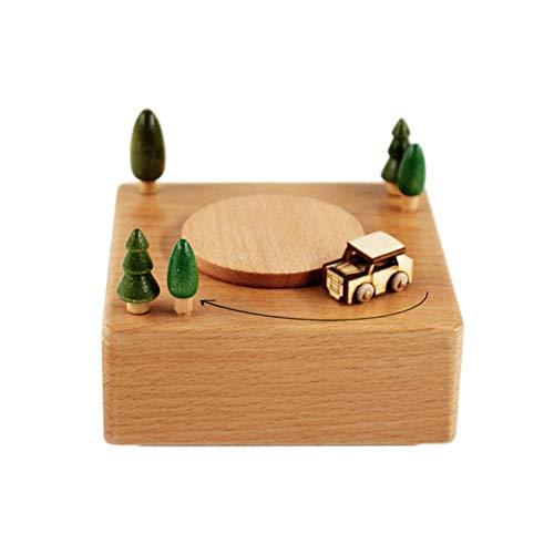NFRADFM Caja de música, caja de música de madera, base de bricolaje, caja de música decorativa de conducción de coche, caja de música de regalo de cumpleaños