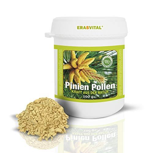 ERASVITAL® Pinien Pollen 100g in einer Plastikdose Wildsammlung 99{58d4a9f26830d027f4ae9a7c940185989cf723a5105714aa23eda6c840b297a4} Zellwandgebrochen in deutschem Labor auf Schadstoffe geprüft.