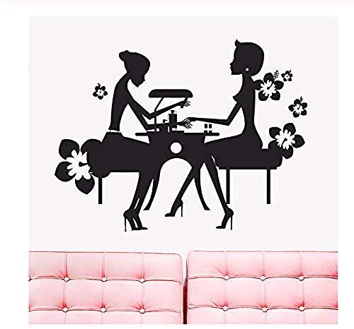 Autocol nts décoratifs Beauty Nail Salon Autocol nts décoratifs Beauty Spa Nail Manucure Boutique Fenêtre Décor Amovible Nail Boutique Art Mural Chambre Sticker Muraux57X44cm