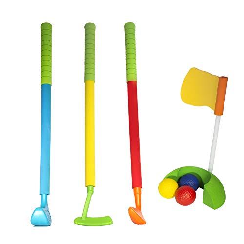 ZPL Golf Club Juguete Portátil 3 Palos Antideslizante Sudor Al Aire Libre Deportes Familia Juegos Adecuado para Niños Encima 5 Años Antiguo