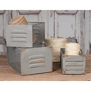 Vintage Industrial Metal Locker and Wire Storage Bins Baskets Boxes Set of 3