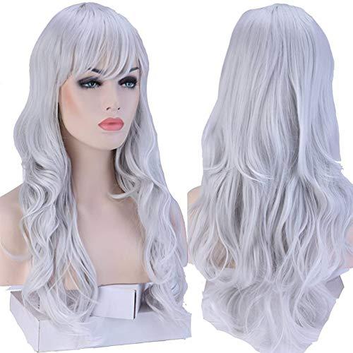 Peluca completa de pelo largo S-noilite®, para cosplay, Halloween, Navidad, fiestas, uso diario (48,26cm – rizada, gris)