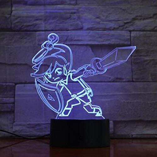 WangZJ Dreieck 3D LED Nachtlicht 7 Farbwechsel Lampe Raumdekoration Action Figure Spielzeug Für Geburtstag Weihnachtsgeschenk/Zelda 5