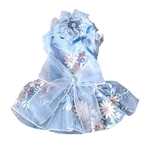 AYDQC Elegante Vestido de Novia Gris y Azul para Mascotas Bordado Ropa para Perros y Gatos Vestido de Princesa Teddy Bichon Hiromi (Size : Small)
