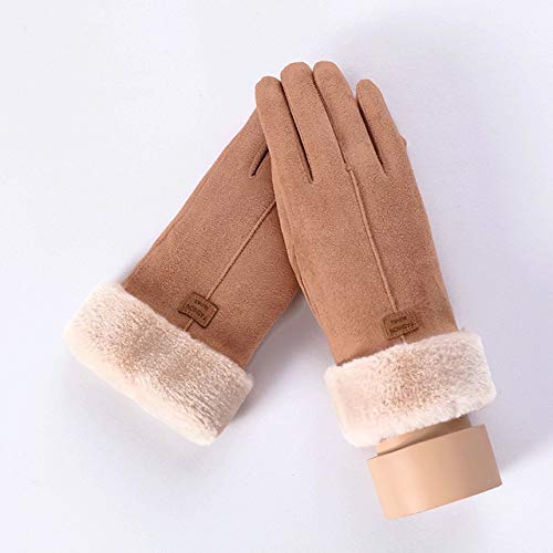 New Winter Female Lace Warm Cashmere Three Ribs Cute Bear Mittens Double thick Plush Wrist Women Touch Screen Driving Gloves-C Khaki
