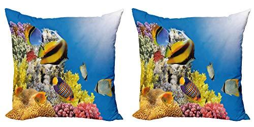 ABAKUHAUS Océan Lot de Housses de Coussin en 2 pièces, Colony Coral Reef Top, Impression Numérique Recto-Verso Zippée, 40 cm x 40 cm, Multicolore