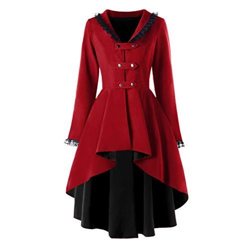 NPRADLA Damen Steampunk Gothic Long Coat Frack Mantel Retro Jacke Barock Punk Kleidung Vintage Viktorianischen Langer Cosplay Kostüm Smoking Uniform(Z-Rot,L)