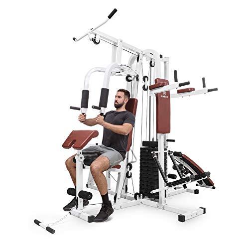 KLAR FIT Ultimate Gym Power - Stazione Fitness Multifunzionale, Power Station, Palestra per Allenamento di Tutto Il Corpo, Inclusi Pesi, 100 Esercizi Diversi, Bianco Zinco