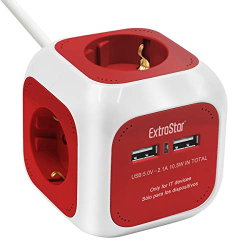 EXTRASTAR DE-Typ Power Cube 4-Fach Steckdosenwürfel mit 2 USB-Anschlüssen (5V/2.1A), 1.5M Kabel Power Würfel/Steckdosenblock/Mehrfachsteckdose/Steckdosen mit Kinderschutz - Rot