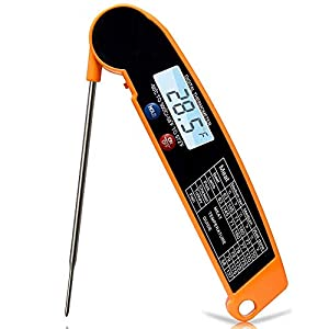 JAKO-B2 Meat Thermometer, Candy Thermometer with Calibration. Instant Read Digital Thermometer for Kitchen, Outdoor Grilling and BBQ, Hidden Super Long Food Probe.