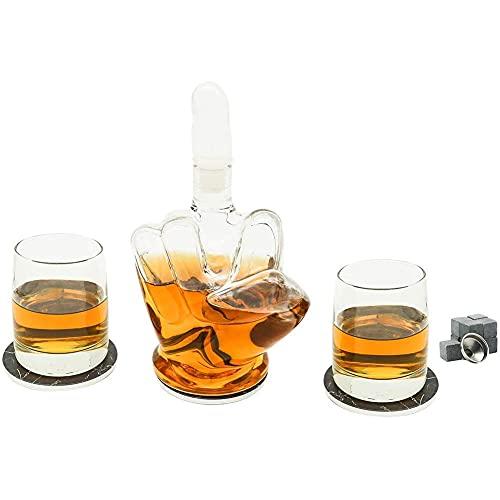 CYHT Juego de Dedo Medio de Whisky Decanter, con 2 Copas de Vino y 3 Posavasos de mármol con Vidrio artesanado Brandy Tequila Bourbon Scotch Rum Container