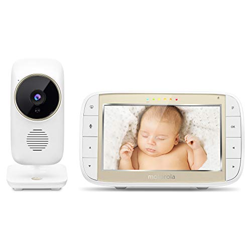 Motorola MBP844CONNECT Wireless WiFi Video Baby Monitor - 5-Inch HD Color Screen, 2-Way Talk Communication - Sound, Motion, Temperature Alert - Digital Zoom, Night Vision, 5 Lullabies - 1000ft Range
