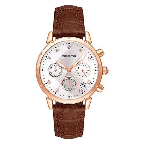 SANDA Reloj Mujer,Tendencia de Moda con Reloj de cinturón de Diamante de la Aguja.-Elevador de café