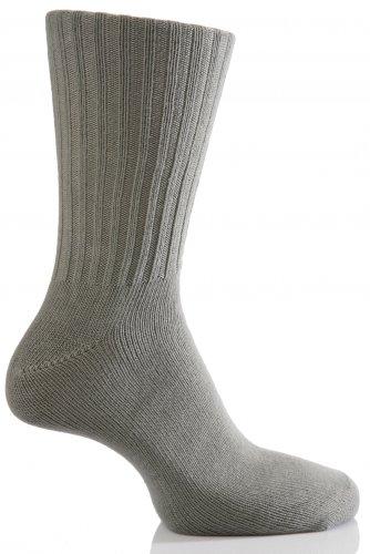 Herren 1 Paar Alex J. Swift Nicht Elastic Cuff Socken aus Baumwolle in 5 Farben - 8-11 Mens - Grau