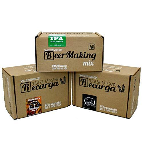 3 miscele di birra. Fermentazione birra. India Pale Ale, Weiss & Pale Ale. Istruzioni multilingua (IT, EN, FR, DE)