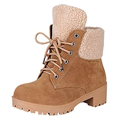NotingBuss Women's Winter Snow Boots Warm Suede Chunky Block Heel Round Toe Faux Fur Outdoor Mid-Calf Ankle Boots