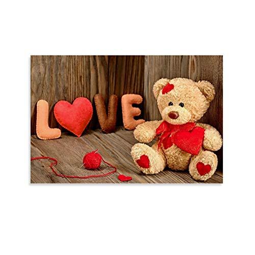 DRAGON VINES Lindo oso de peluche con un corazón de amor, apto para parejas, impresión de lona, minimalista, decoración de dormitorio o sala de estar, 40 x 60 cm