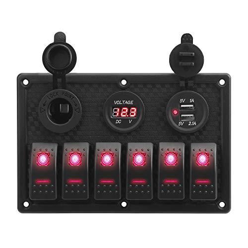 CuiGuoPing Panel basculante de 6 velocidades con volquete digital, cargador USB dual de 4,2 A y enchufe de 12 V para vehículos marinos y vehículos (rojo)