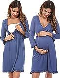 Doaraha Camisón Lactancia para Mujer Vestido Premamá con Volantes Pijama de Maternidad Camisones de Algodón de Manga 3/4 Ropa de Dormir con Cuello en V (Azul, S)