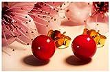 Orecchini Rossi in vetro di Murano, Creazioni Pireta, placcato in oro 18k, anallergico, fatto a mano, hand made, Made in Italy, orecchino a bottone, regalo perfetto per lei.