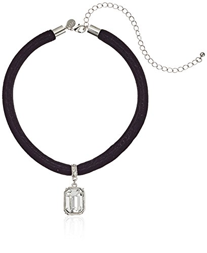 1928 Jewelry Black Velvet Choker with Swarovski Crystal Adjustable Pendant Necklace, 13' + 6' Extender