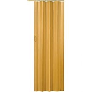 tectake 800053 Puerta Plegable Corredera de PVC, Impermeable, Interior Habitación Espacio, Mueble Separador de Hogar, Cierre Magnético, Altura Ajustable, Nuevo (Arce)