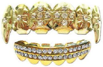 Big Dawgs Bling Hip Hop 14K Gold Plated Removeable Mouth Grillz Set (Top & Bottom) Cross Iced Fangs