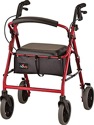 "NOVA Zoom Rollator Walker with 22"" Seat Height, Red"