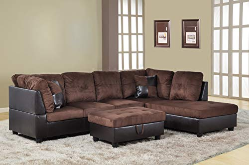 Ainehome 3 PCS Living Room Set, Sectional Sofa Set, Sectional Sofa in Home, with Storage Ottoman and Matching Pillows (Right Hand Facing, Chocolate)